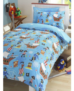 Sea Pirates Single Duvet Cover and Pillowcase Bedding Set