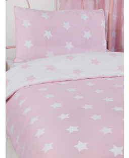 Pink and White Stars 4 in 1 Junior Bedding Bundle Set