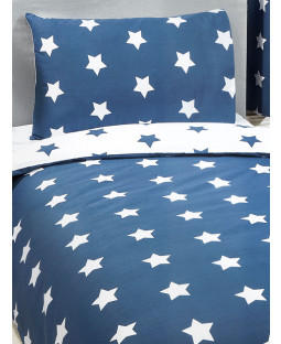 Navy Blue and White Stars 4 in 1 Junior Bedding Bundle Set