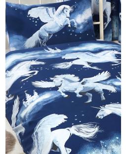 Stardust Unicorn Navy Blue Junior Toddler Duvet Cover and Pillowcase Set