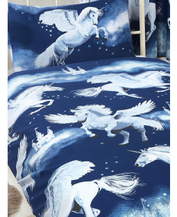 Navy Blue Stardust Unicorn Single Duvet Cover and Pillowcase Set