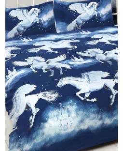 Navy Blue Stardust Unicorn Double Duvet Cover and Pillowcase Set