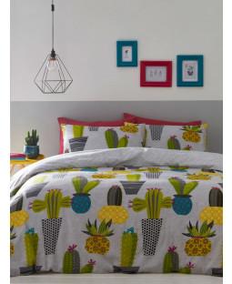 Cacti Single Reversible Duvet Cover and Pillowcase Set