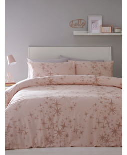 Glitter Stars Double Duvet Cover and Pillowcase Set