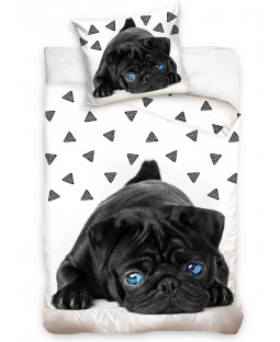 Black Pug Puppy Single Cotton Duvet Cover Set