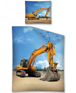 Digger Single Cotton Duvet Cover and Pillowcase Set