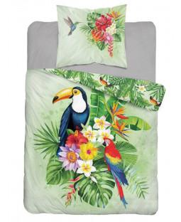 Tropical Parrot Single Cotton Duvet Cover Set