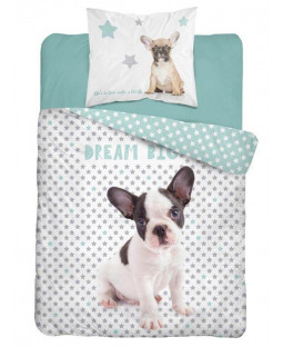 Ensemble de housse de couette en coton simple Dream Big Bulldog