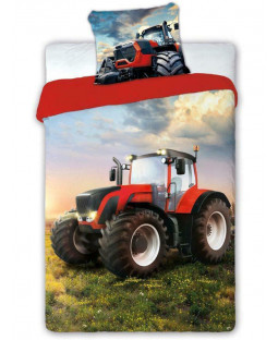 Red Tractor Single Cotton Duvet Cover Set - European Size