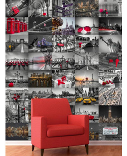 City Scapes Creative Collage Designer Wall Mural - 64 Piece