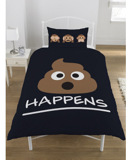 Emoji Icons Mr Poo Single Duvet Cover and Pillowcase Set - Black