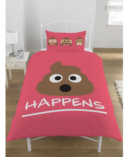 Emoji Mr Poo Single Reversible Duvet Cover Bedding Set - Pink