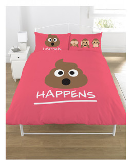 Emoji Mr Poo Pink Double Duvet Cover Bedding Set