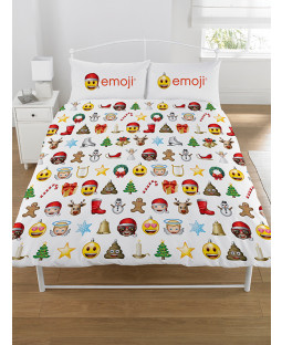 Emoji Christmas Double Duvet Cover and Pillowcase Set