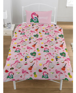 Emoji Flamingo Reversible Single Duvet Cover Bedding Set