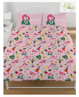 Emoji Flamingo Reversible Double Duvet Cover and Pillowcase Set