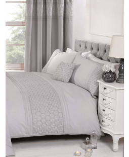 Everdean Floral Grey Super King Duvet Cover and Pillowcase Set