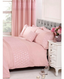 Everdean Floral Blush Pink King Size Duvet Cover and Pillowcase Set