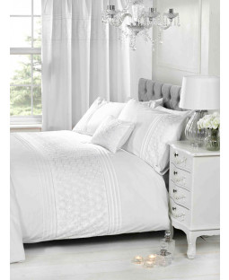Everdean Floral White King Size Duvet Cover and Pillowcase Set