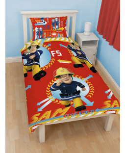 Fireman Sam 'Alarm' Single Reversible Duvet Cover & Pillowcase Set