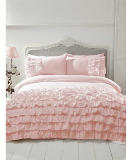 Flamenco Ruffle Blush Pink King Size Duvet Cover and Pillowcase Set