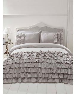 Flamenco Ruffle Grey Double Duvet Cover and Pillowcase Set