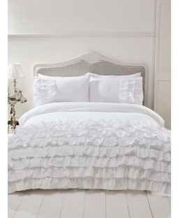 Flamenco Ruffle White King Size Duvet Cover and Pillowcase Set