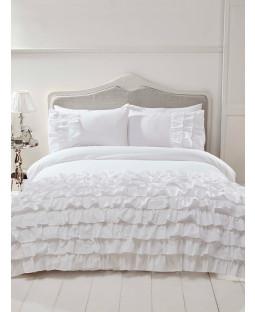 Flamenco Ruffle White Super King Duvet Cover and Pillowcase Set