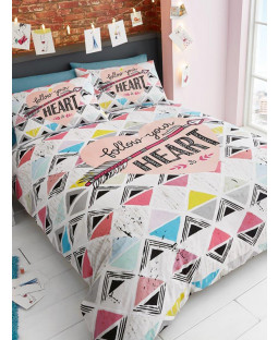 Geometric and Heart Geometric King Size Duvet Cover and Pillowcase Set