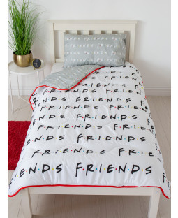 Friends Mono Coverless Single 10.5 Tog Quilt and Pillowcase Set