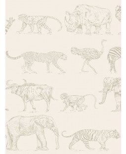 Boutique Safari Animals Wallpaper Cream / Rose Gold Graham & Brown 104894