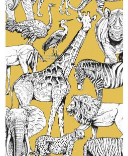 Jungle Animals Wallpaper Yellow Graham & Brown 107691