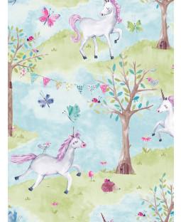 Little Ones Eco Unicorn Wallpaper Blue GranDeco LO2102