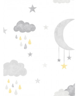 Little Ones Eco Clouds and Moon Wallpaper Yellow GranDeco LO2001