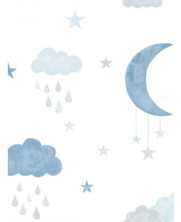 Little Ones Eco Clouds and Moon Wallpaper Blue GranDeco LO2003