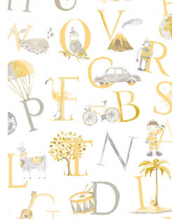 Little Ones Eco Alphabet Wallpaper Yellow GranDeco LO2302