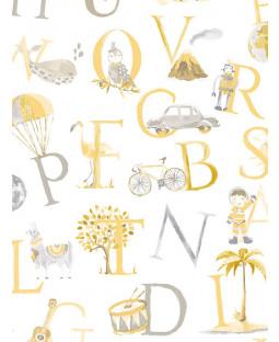 Little Ones Eco Alphabet Wallpaper Amarillo GranDeco LO2302