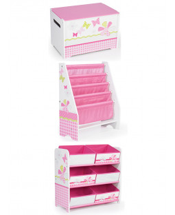 Girls Pink Patchwork Bedroom Furniture Storage Set