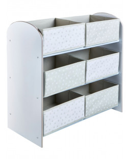 Grey and White Stars 6 Bin Storage Unit