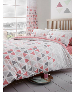 Geometric Triangle Double Duvet Cover and Pillowcase Set - Pink