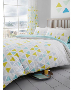 Geometric Triangle Single Duvet Cover and Pillowcase Set - Teal