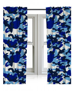 "Blue Camouflage Curtains 54"" Drop"