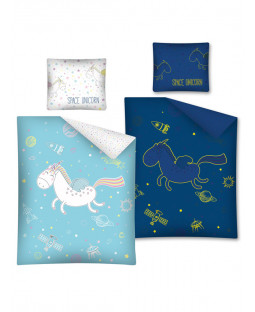 Set copripiumino singolo in cotone Unicorno Glow in the Dark