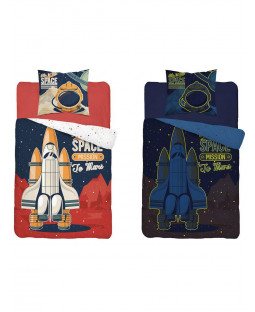 Space Mission Glow in the Dark Single Duvet Cover - European Size