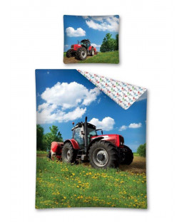 Tractor Red Glow in the Dark Single Duvet Cover - European Size