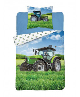 Tractor Green Glow in the Dark Single Duvet Cover - European Size