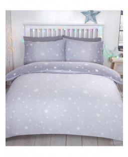 Starburst Brushed Cotton Double Duvet Cover Set - Grey