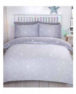 Starburst Brushed Cotton King Size Duvet Cover Set - Grey