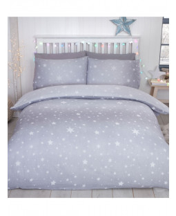 Starburst Brushed Cotton Single Duvet Cover Set - Grey