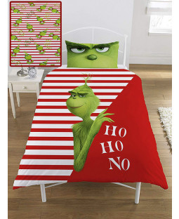 The Grinch Movie Ho Ho No Single Duvet Cover and Pillowcase Set